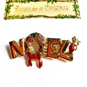 3/$25 Noel Christmas Pin Brooch Wreath Mouse Bow